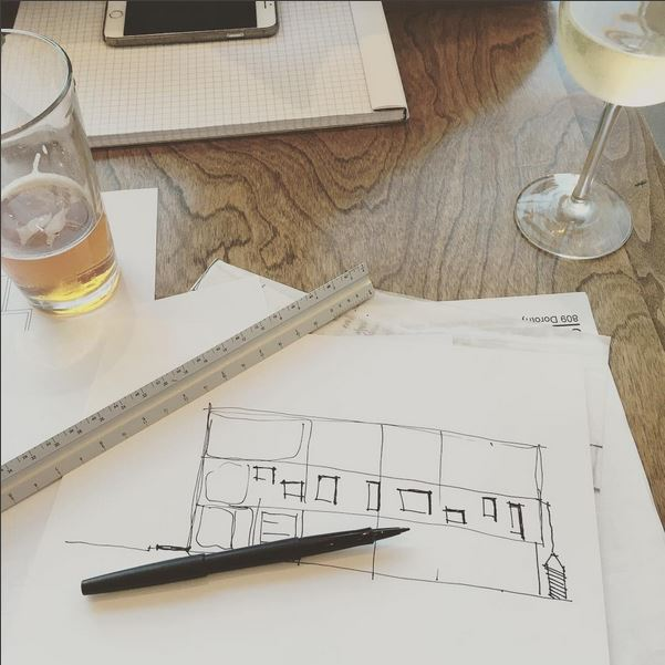 Our friendly building-mates  @holsemcoffee  are now serving beer and wine. This calls for  #fridaydesignhappyhours   #northpark   #craftbeer   #architecture   #design   #wine   #sketches   #designbuild  with  @jfxc3   #kristibyersarchitect