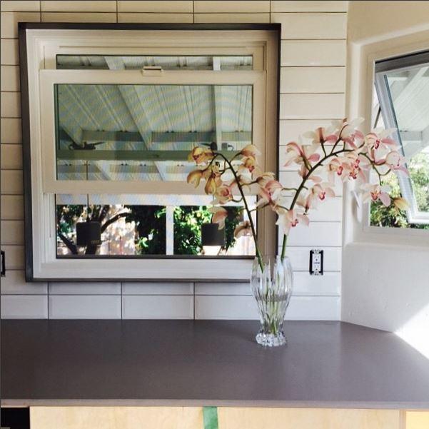 Another  #kitchen   #detail  shot  #steelwindowsurrounds   #quartz   #greyisacolor   #naturallight   #balticbirch   #modern   #orchids   #kristibyersarchitect
