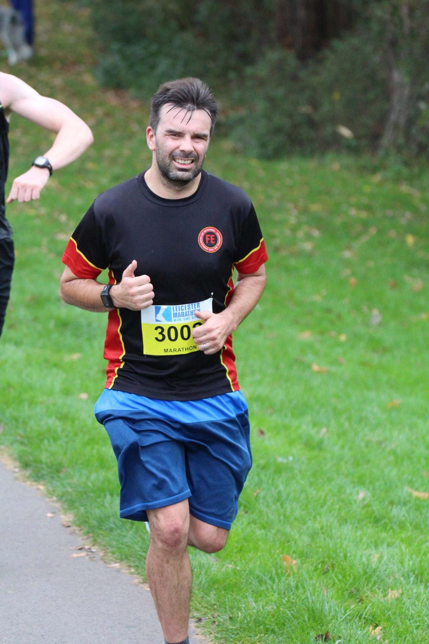 Running with a permanent thumbs up. Thanks Clive Mason for the photo!