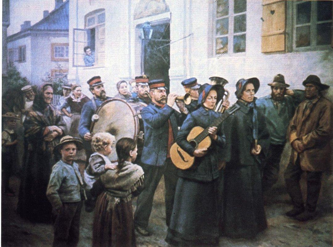 W. Peters' «Stormangrep på en fiskerlandsby», malt i 1895 mens kunstneren bodde i Son.