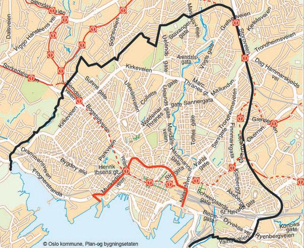Grensen for indre by frem til 2003, med Ring 1 (i rødt), laget av Plan- og bygningsetaten i Oslo i 2012, basert på politivedtekt.