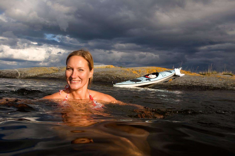Badeplasser<strong>Sandstrender, svaberg, og innsjøer.</strong>