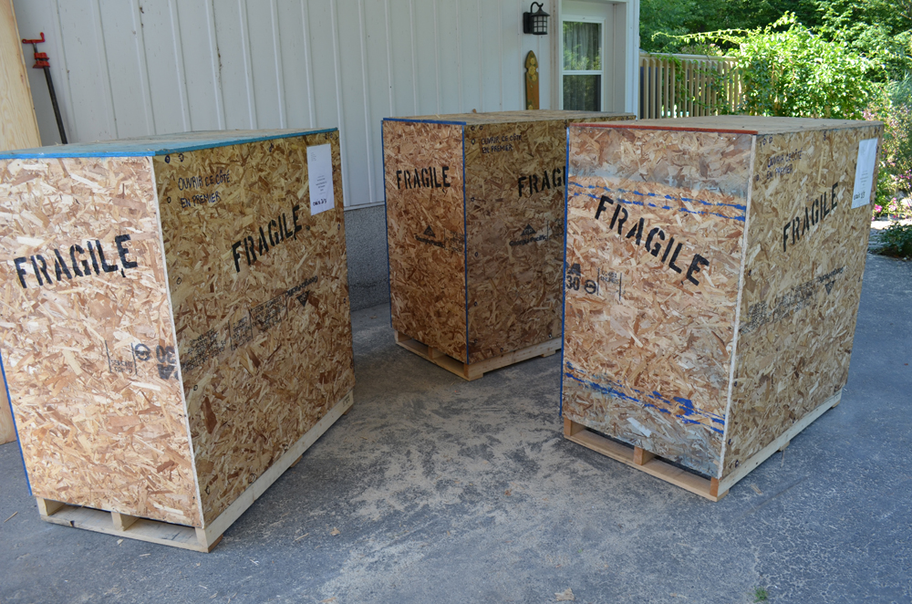 Shipping crates for international shipping.