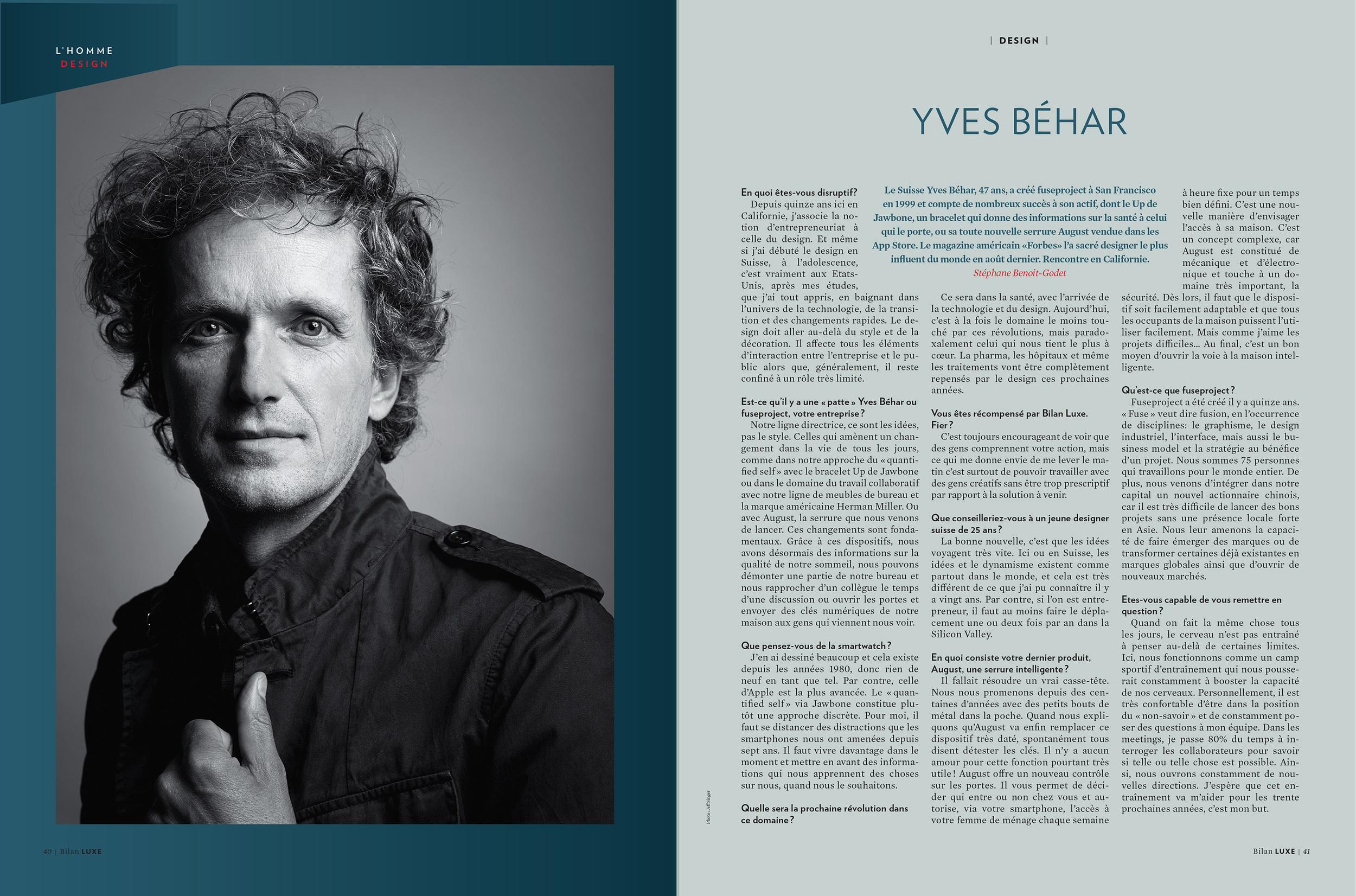 Yves Behar Bilan Magazine Tearsheet