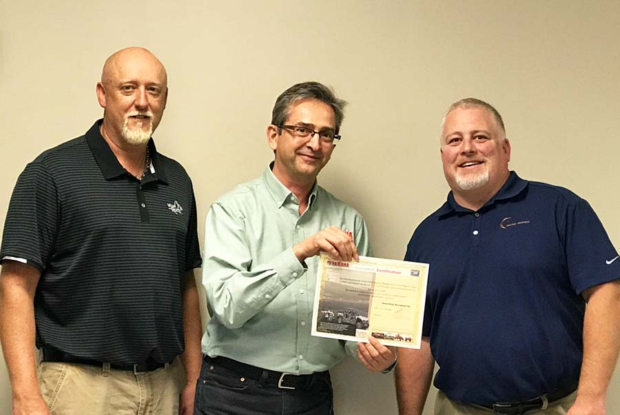 (pictured left to right) Brent Dietzman, Quality Manager – Romo Durable Graphics, Marek Goncerzewicz, Purchasing ASQ Engineering Manager – Yamaha Motor Company, Jon Weber, VP Operations – Romo Durable Graphics