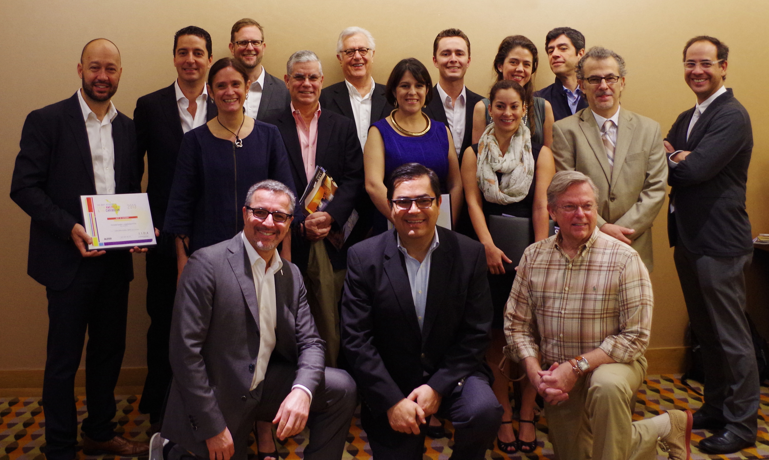The full group of winners, with Dennis and members of IIDA Miami.