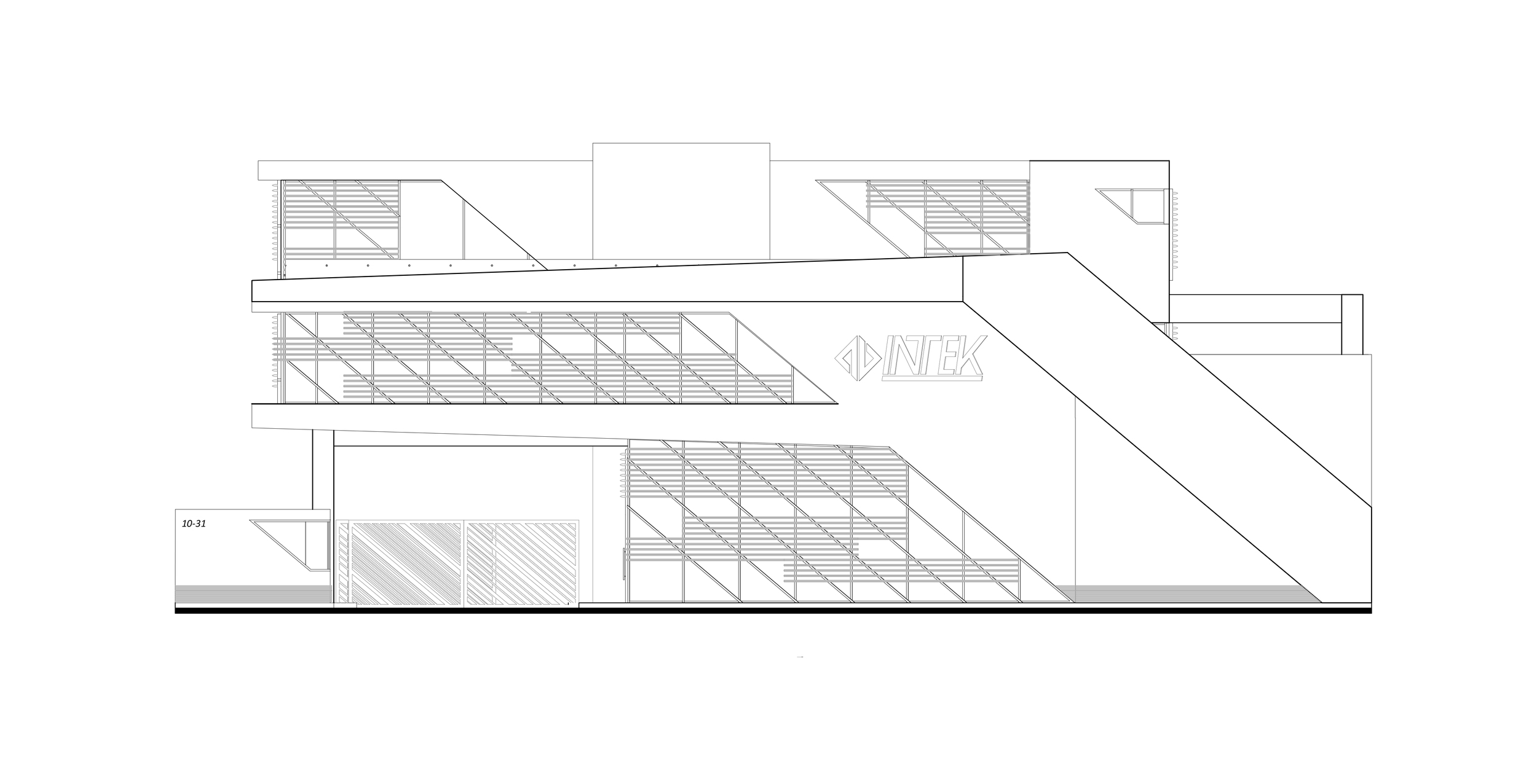The finalised elevation - notice how the angles have been incorporated throughout.