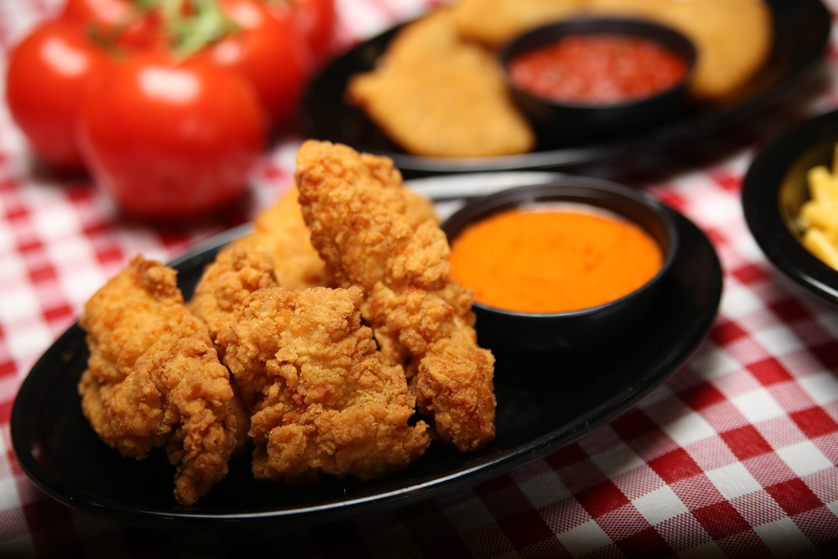 Wings - Wings Spun fresh in your favorite sauce:Hot – Mild – BBQ – Teriyaki – Spicy Garlic – Thai ChiliTraditional WingsServed with your choice of Blue Cheese or Ranch5pc: $4.99 10pc: $8.99 25pc: $19.99Boneless Chicken TendersBoneless Tenders spun in your favorite sauce or served with sauce on the side for dipping. Served with your choice of Blue Cheese or RanchSmall: $6.99 large: $11.99Celery . . . . . . . . . . . . . . $0.49Extra Sauce (ea) . . . . . . . $0.49