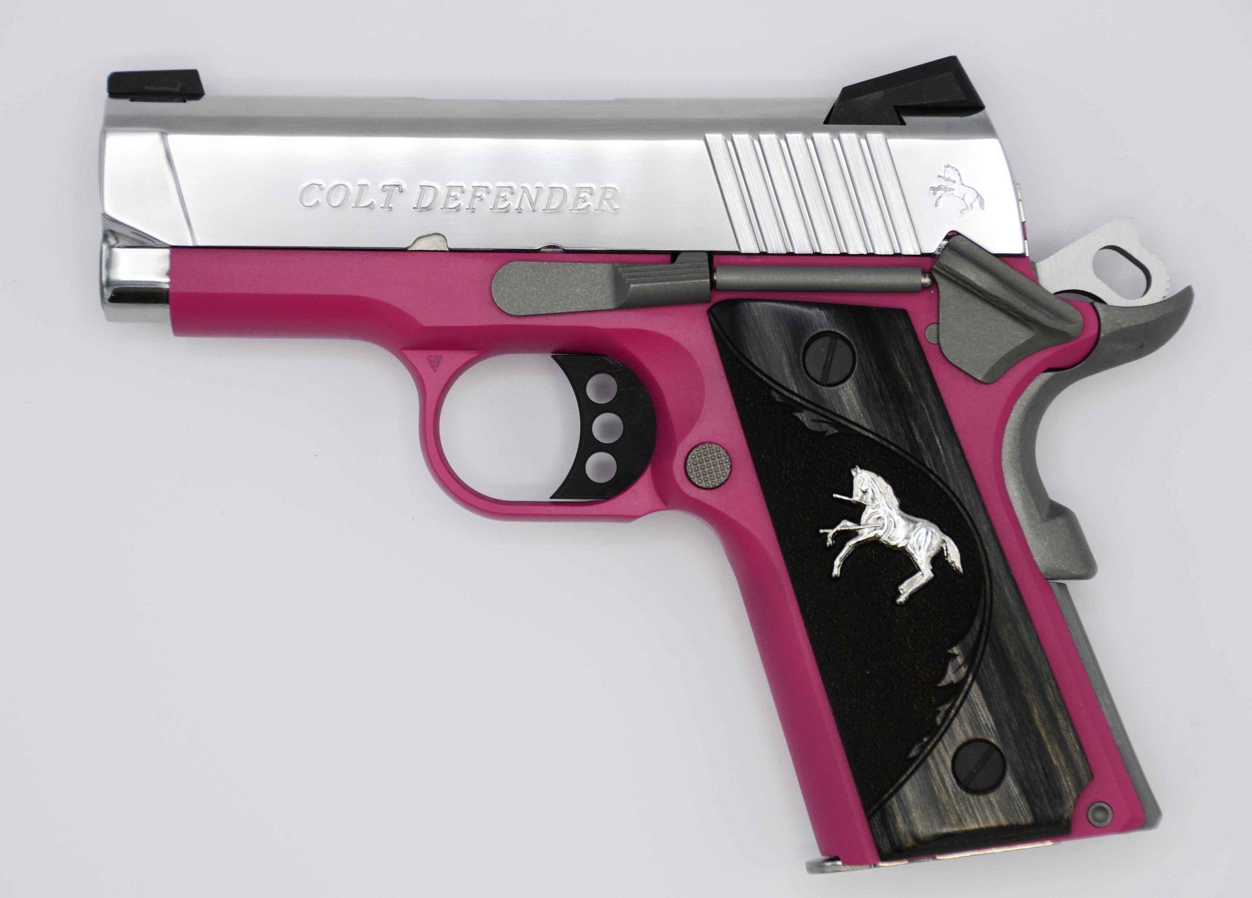 """Colt Raspberry Defender 9mm     O7002D-PK  - Colt Defender, 3"""" Barrel, 9mm, Coral Frame, Polished Stainless Slide , Rampant Colt grips (TALO 1 of 400 Thanks , Eric , my mistake.)  UPC – 098289111760"""