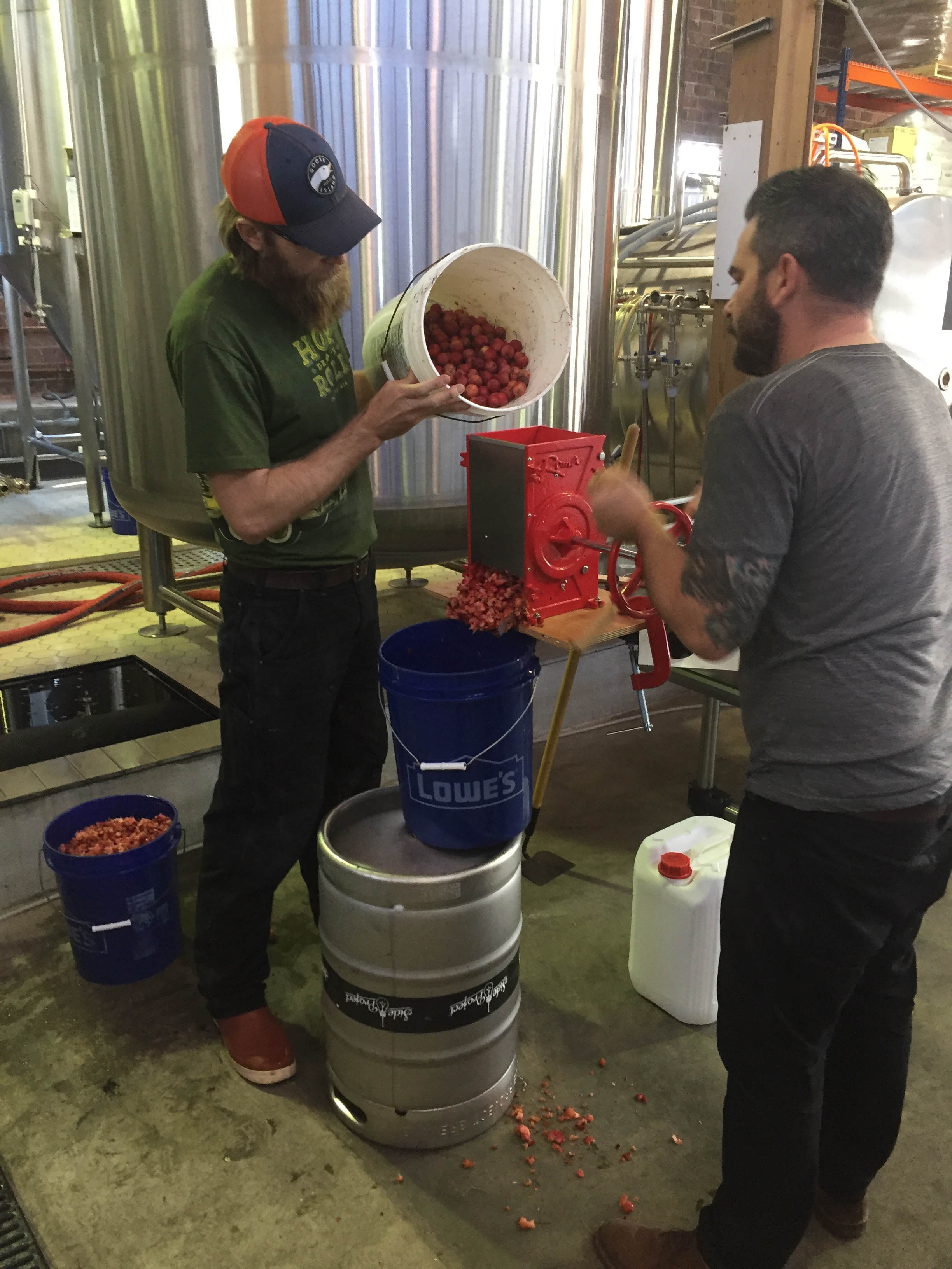 Ryan and Brian hand processed 600 lbs of Crabapples on brewday.