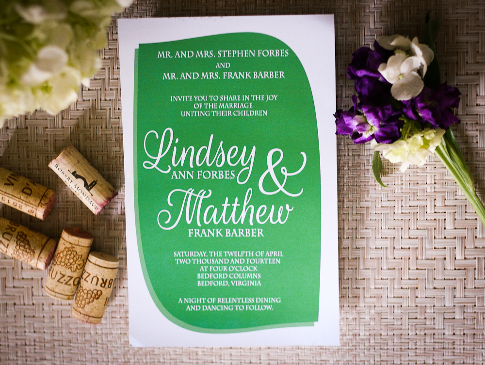 Lindsey's simple green wedding invitations by Emily Nicoletti Design