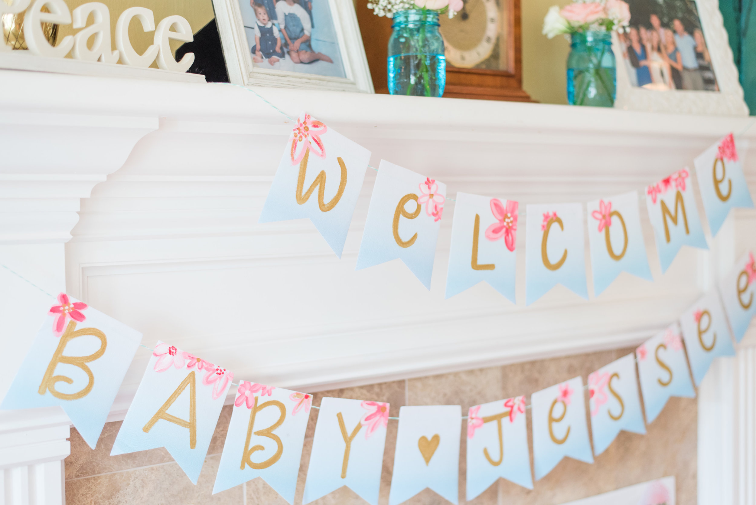 Painted Canvas Baby Shower Banner