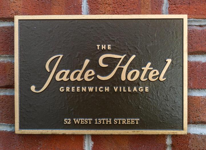 Cast Bronze Jade Hotel plaque in NYC