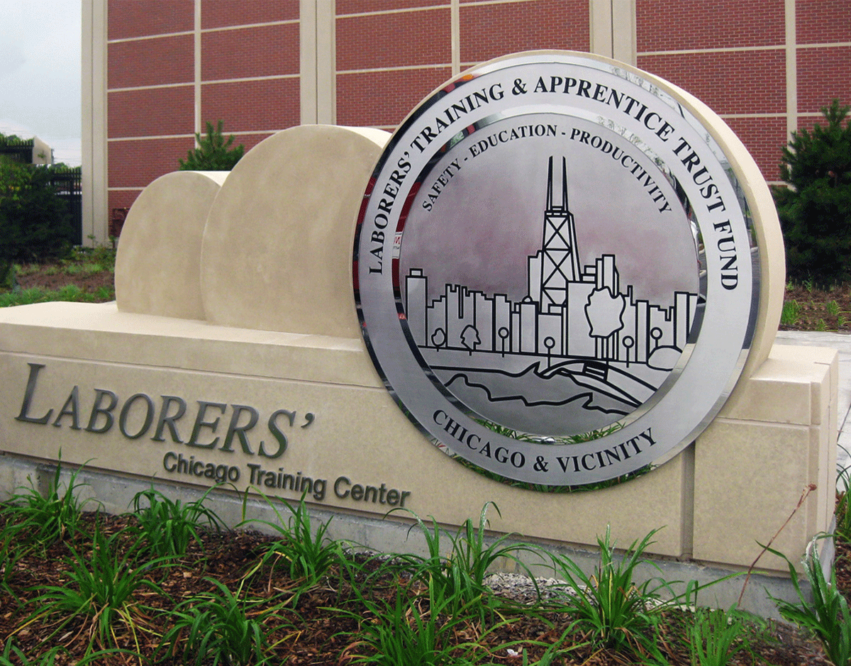 Etched Stainless Steel Medallion - Polished Finish - Chicago Laborers - Masterwork Plaques