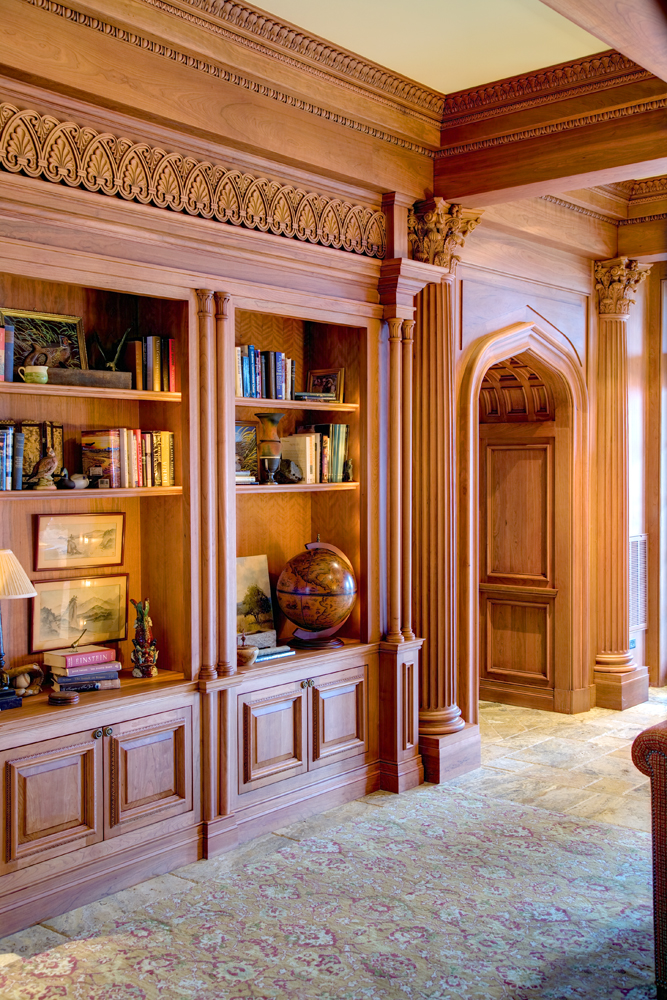 Closeup of library cabinetry in the Corinthian order