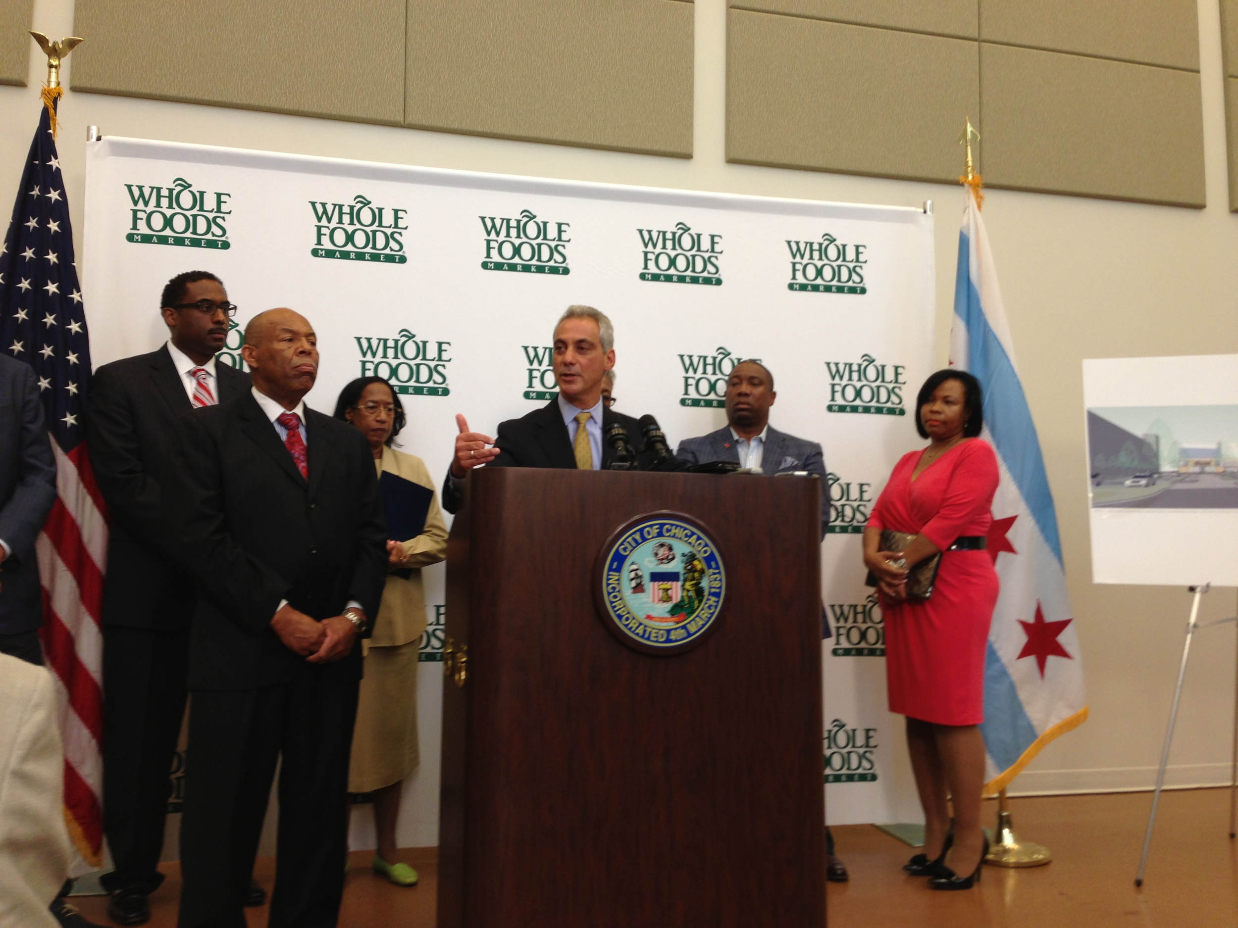 Chicago Mayor Rahm Emanuel announcing the Englewood Square development project.