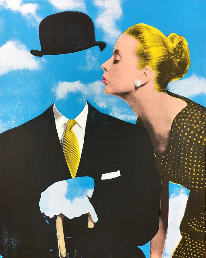 Kissing Magritte silkscreen