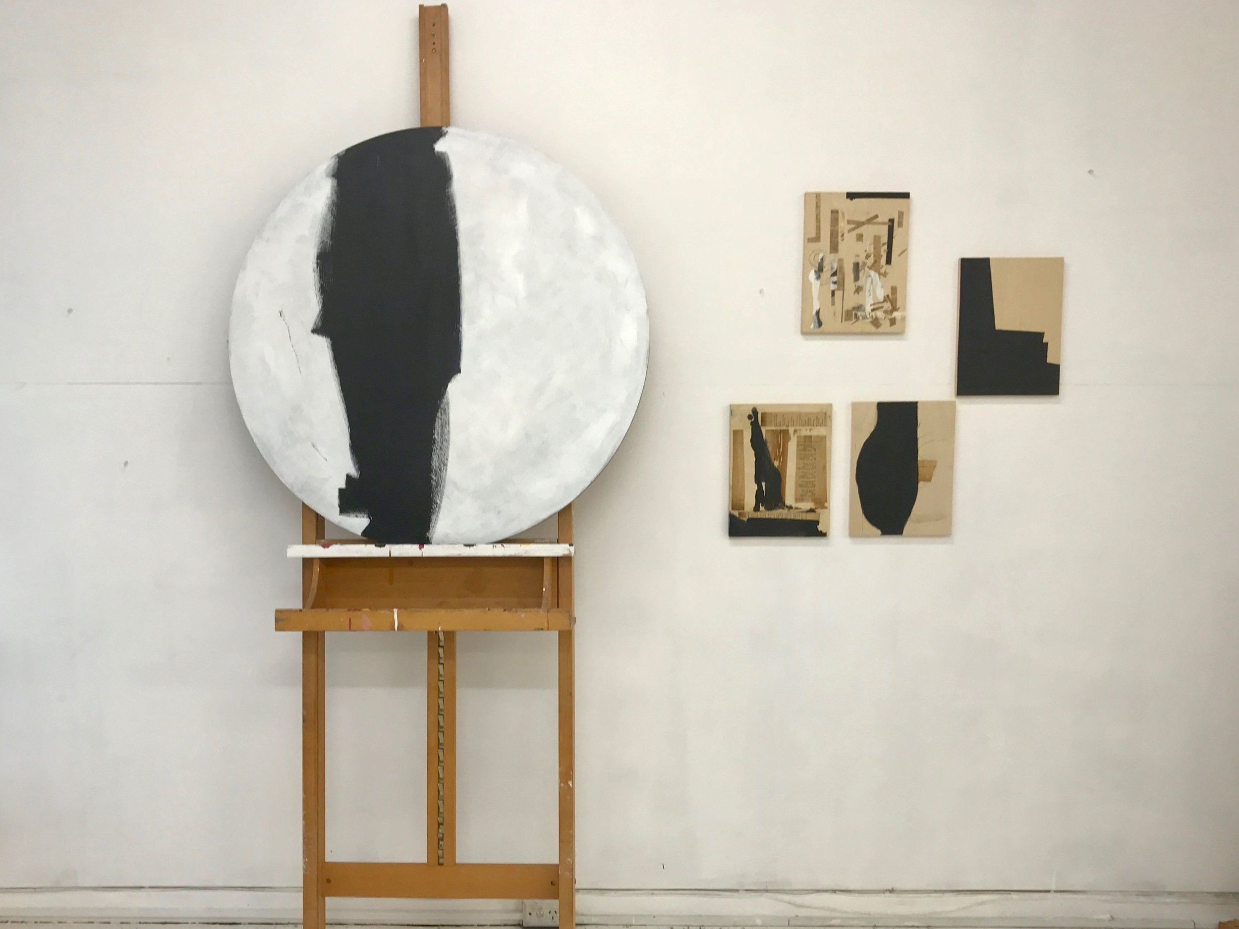 Acrylic and collages on wood, dimensions variable