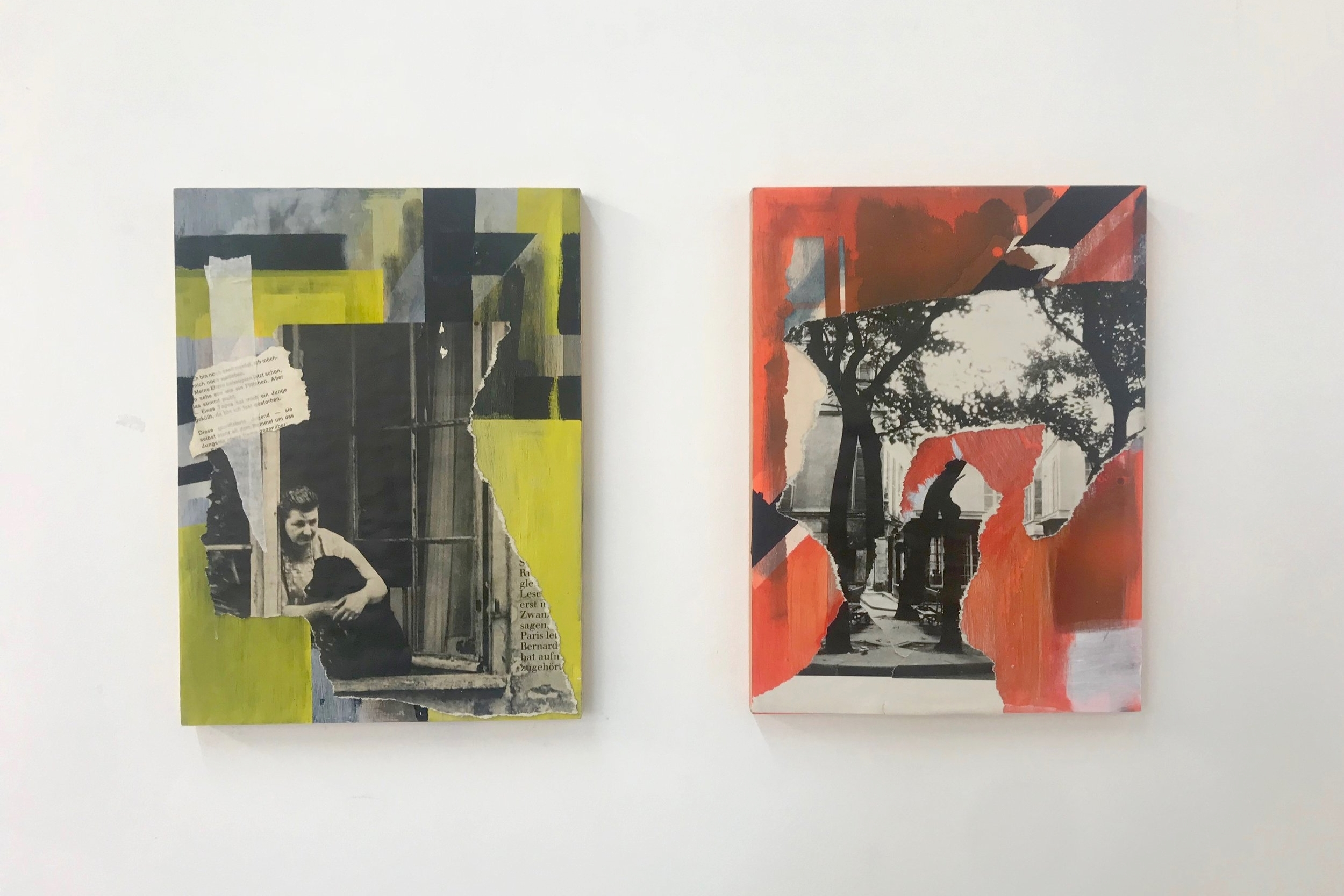 Acrylic and collage on wood, 23cm x30.5cm each