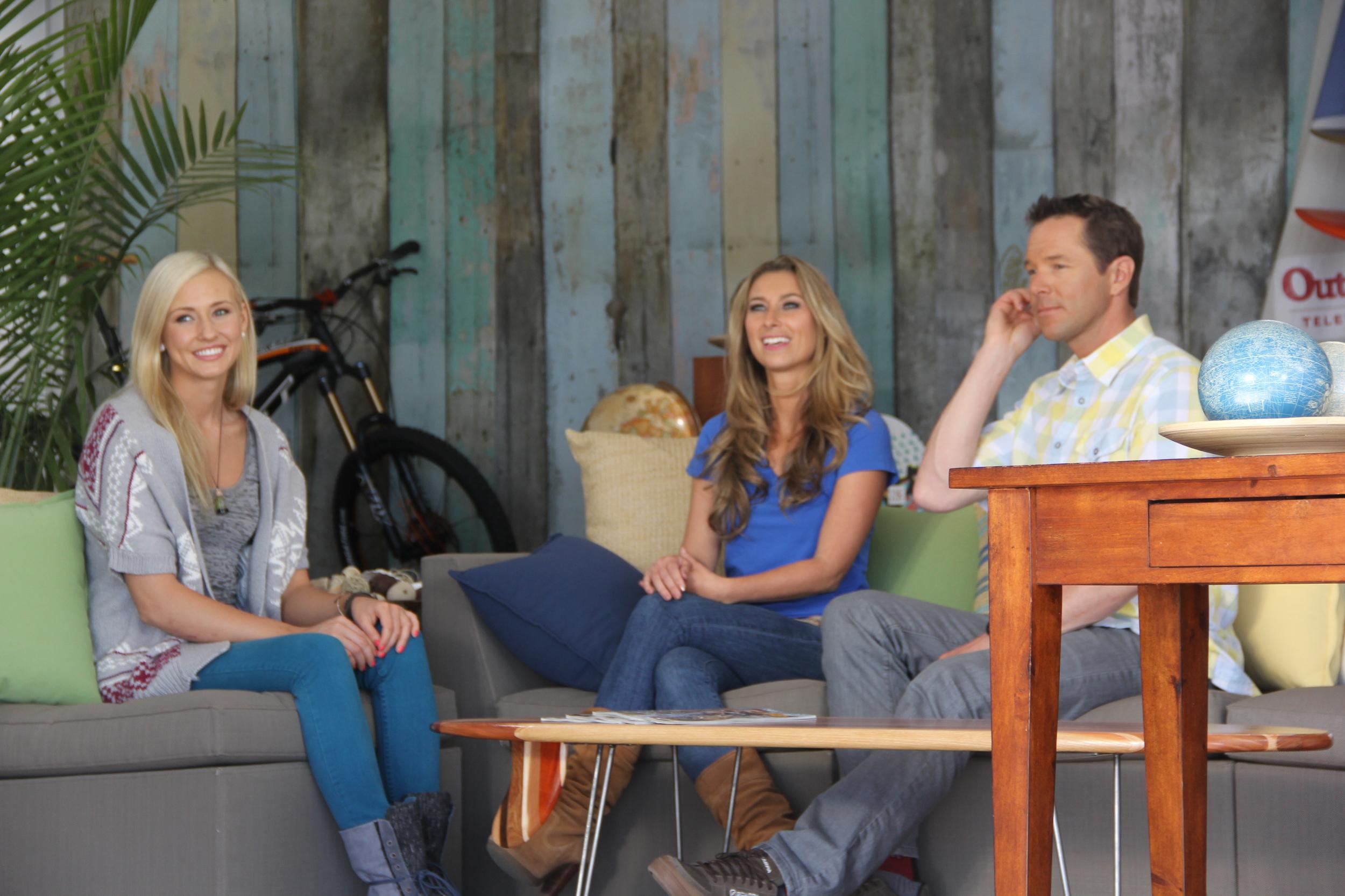 Sierra Blair-Coyle, Julia Dimon, & Chris Davenport on the set of Outside Television  Malibu, CA
