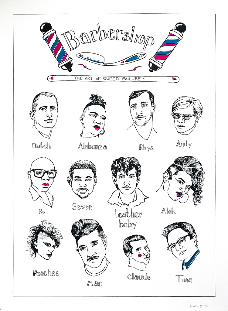 This poster is hand drawn and then screen printed in the style of iconic barbershop posters, but instead of showcasing various versions of heteropatriarchal, cisnormative, masculinity masquerading as haircuts this poster images queer and trans culture producers, artists and scholars of various sexual and gender orientations that all have short, barbered hairstyles. The poster is for sale and part of the proceeds go to the Transgender Law Center, and the rest goes to helping fund this project.