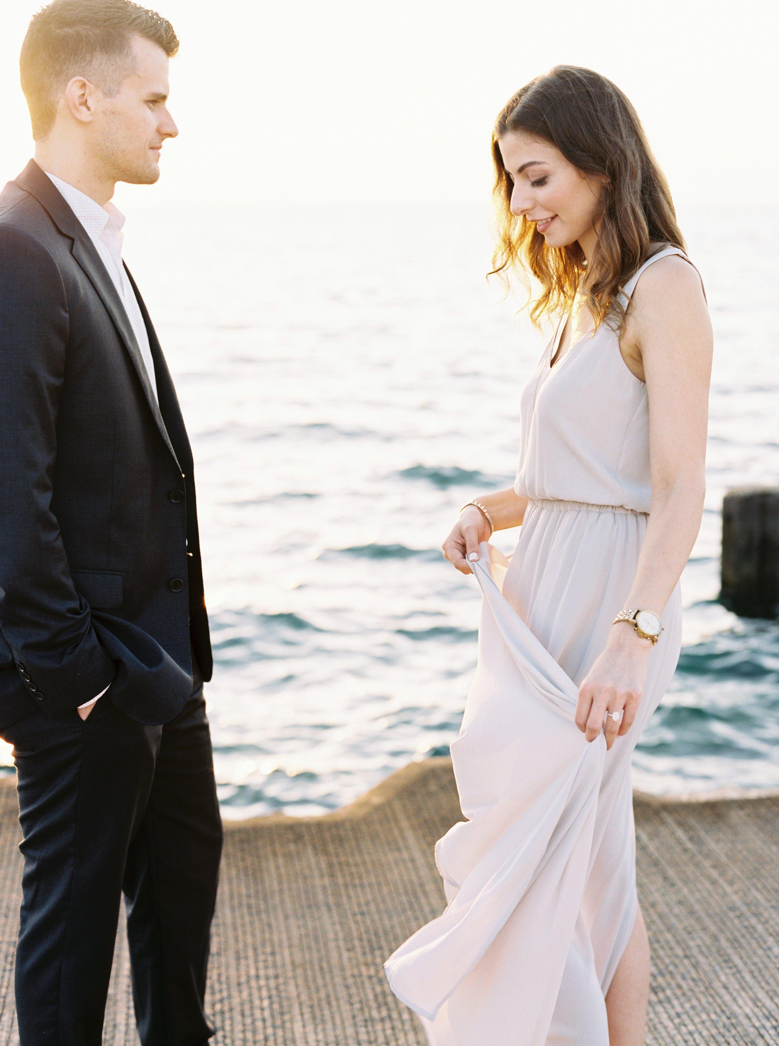 Kyle John l Fine Art Wedding Photography l Chicago, Copenhagen, California, New York, Destination l Blog l Nathalie and Colby_Lake Michigan_Sunrise Engagement_3