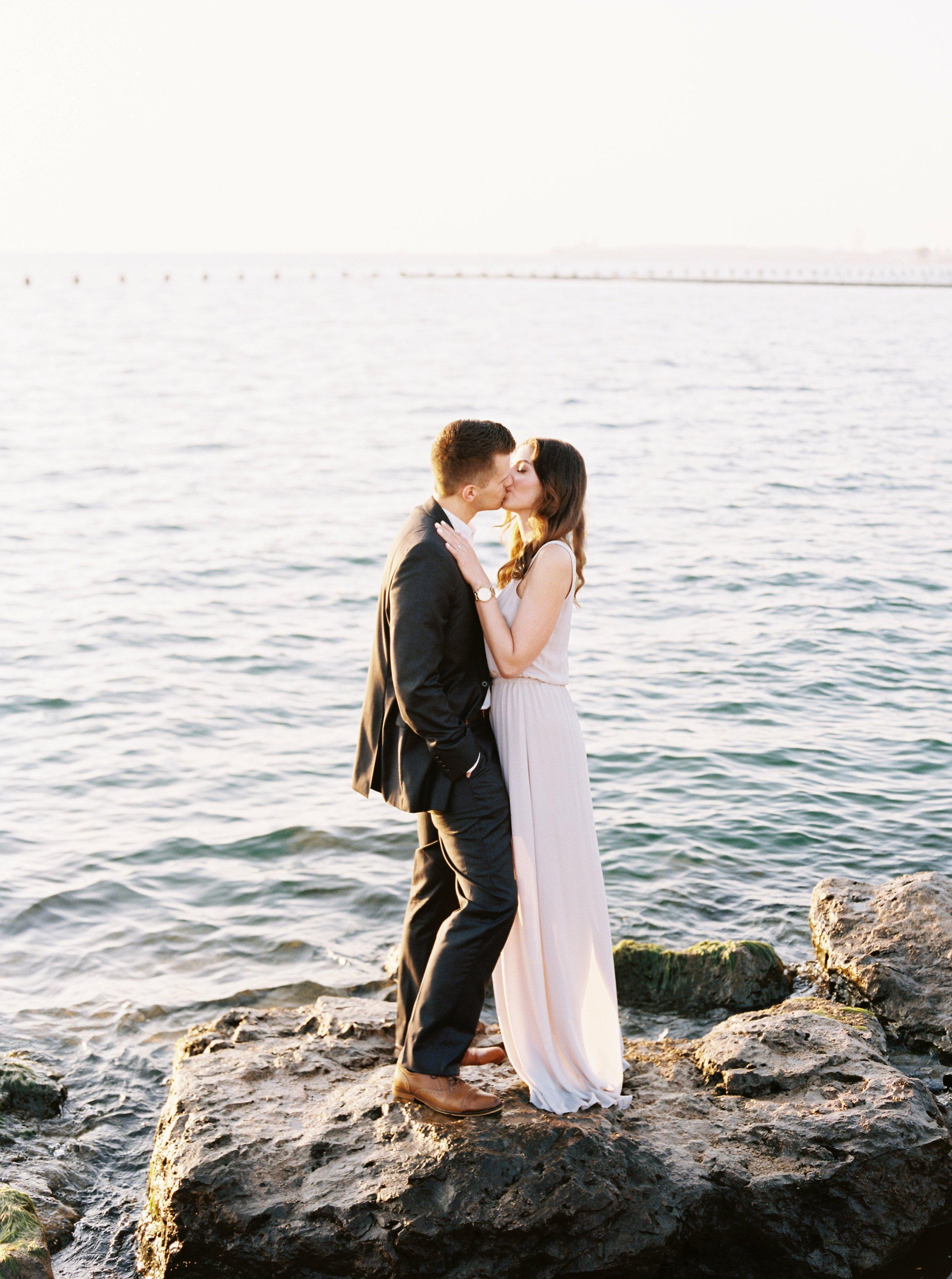 Kyle John l Fine Art Wedding Photography l Chicago, Copenhagen, California, New York, Destination l Blog l Nathalie and Colby_Lake Michigan_Sunrise Engagement_9