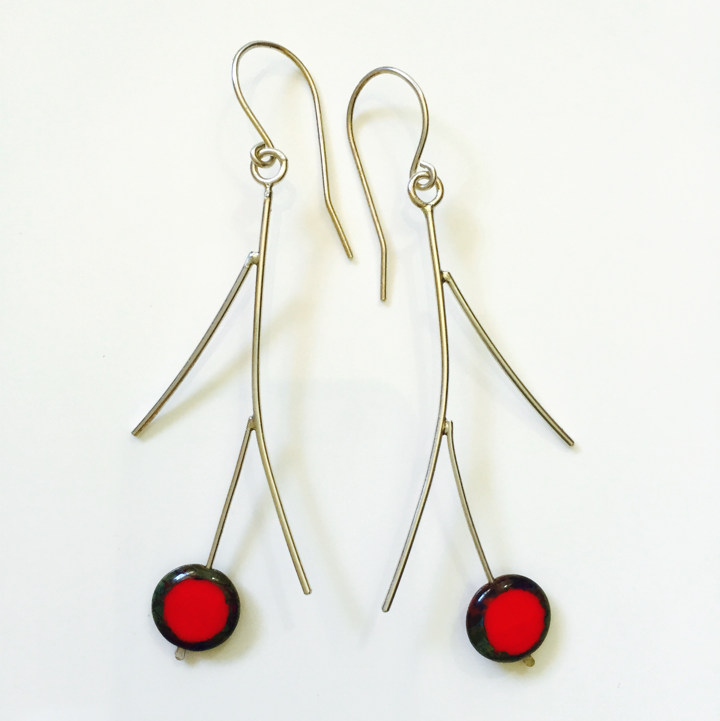 Sterling silver earrings with glass beads