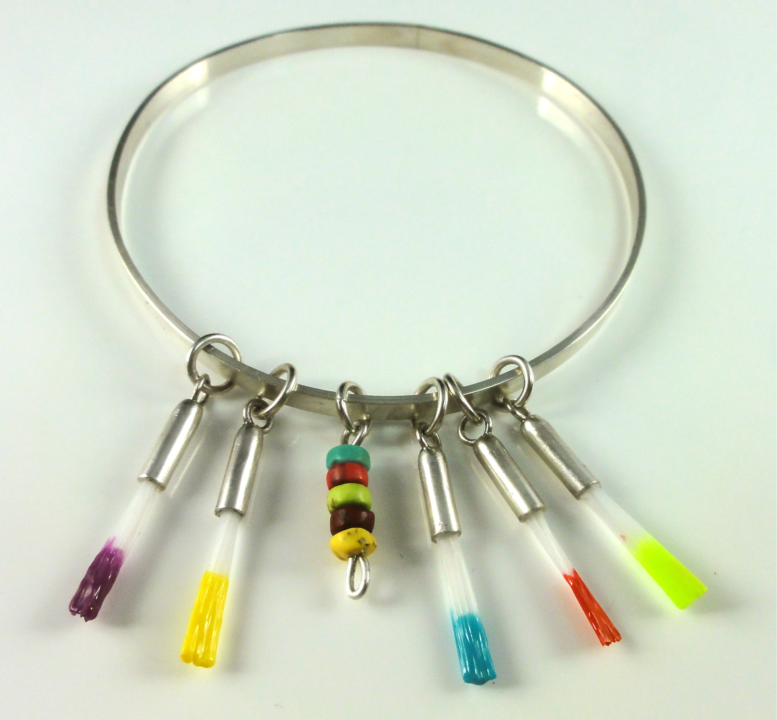 Sterling silver bracelet with paint brushes