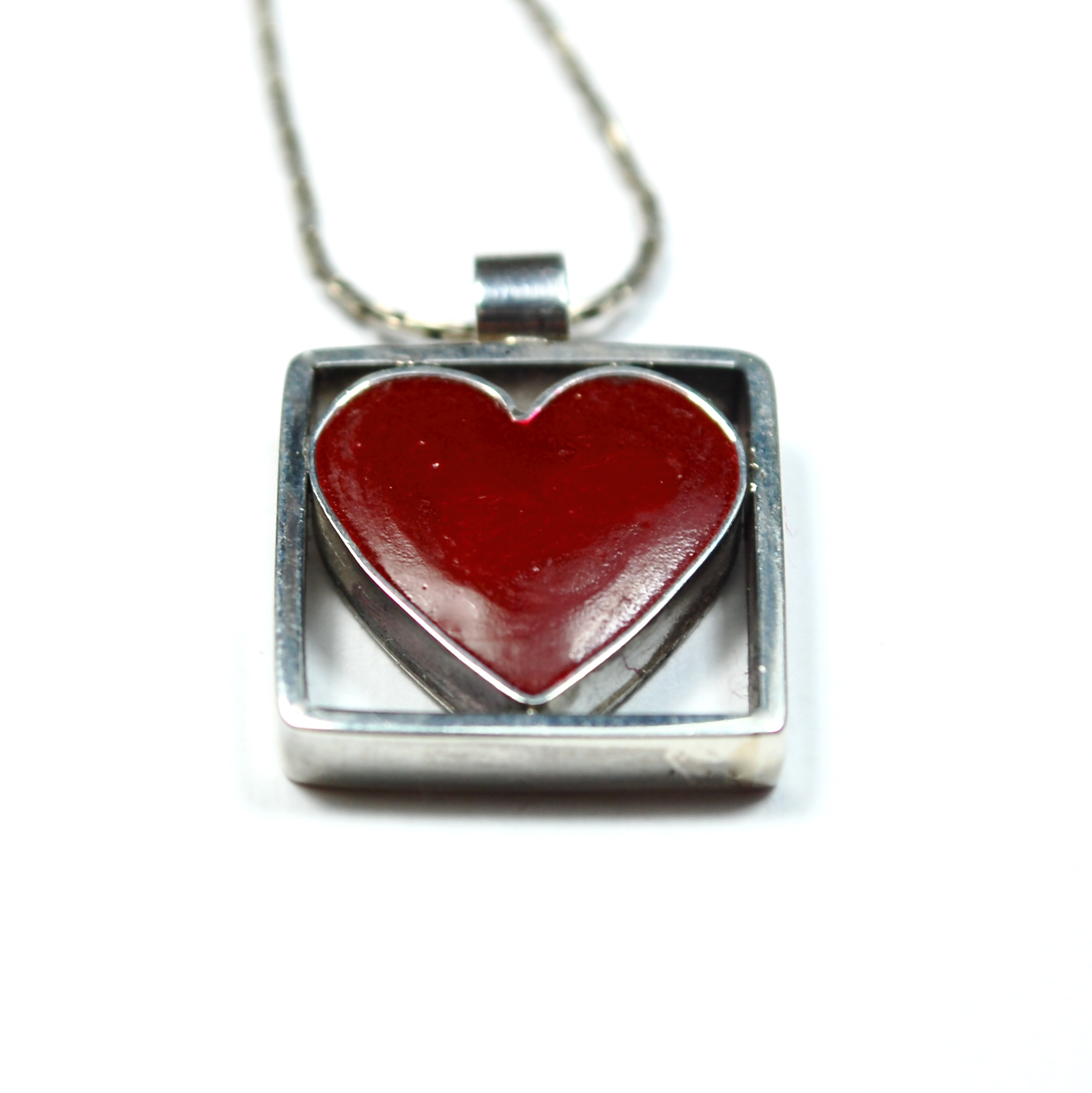 sterling silver necklace with enameled heart