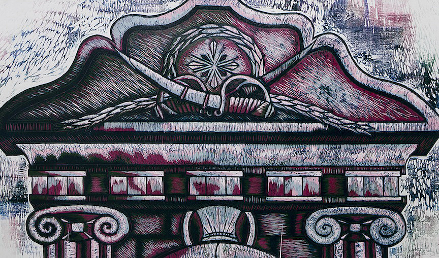 Mausoleum 2. Reductive Woodcut. 25x40. Edition of 10. Price upon request