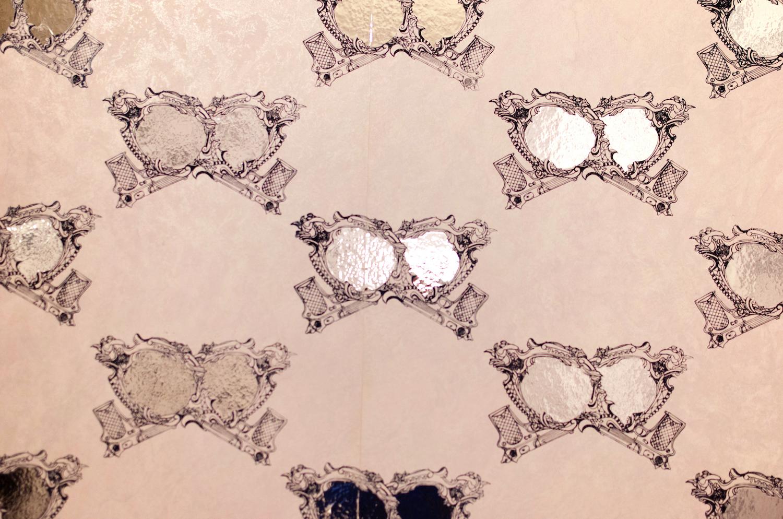 Wallpaper Detail. Screenprint repeat pattern on wallpaper. Additional reflective vinyl decal. 200 sq ft studio installation.