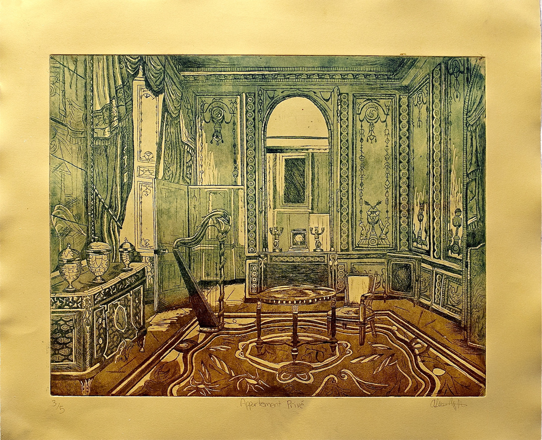Appartement Prive. Etching. 18x24. Edition of 5. Price upon request.