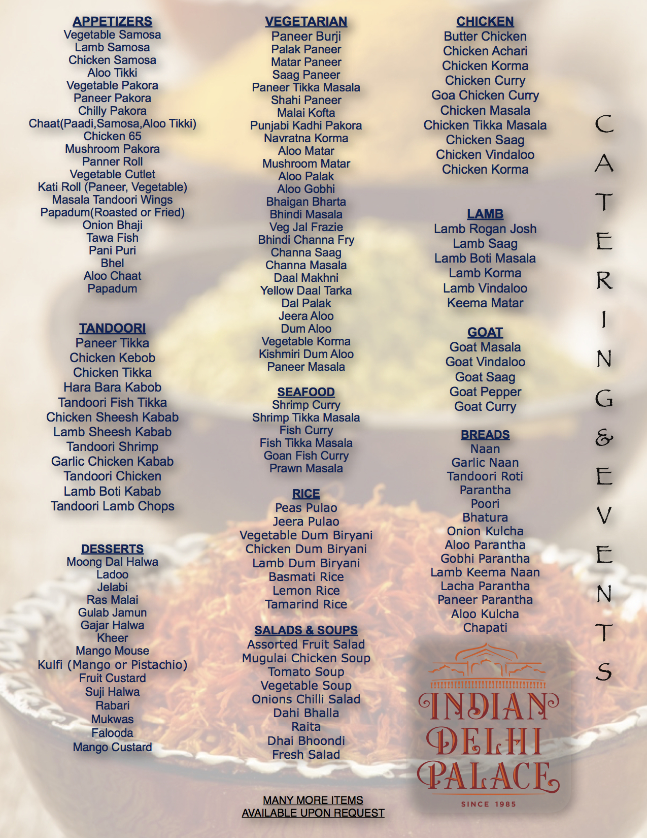 Indian Delhi Palace Catering