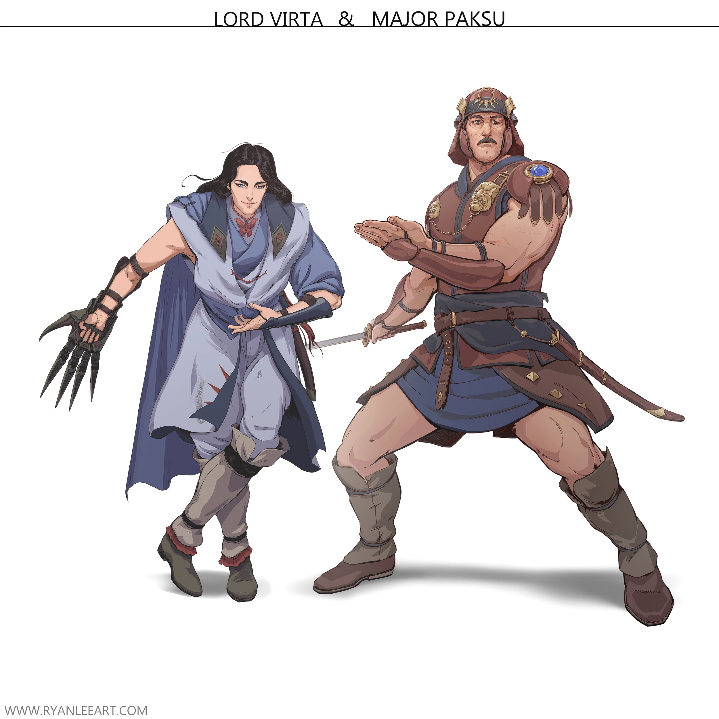 """Lord Virta & Major Paksu    Major Paksu:  Major Augustus """"Paksu"""" Bal'Klima rose to prominence in the Rhezzian military under the infamous General Mekkos during their attempted conquest of Old Kingdom. It was largely due to Paksu's skillful leadership and near mythical battle prowess that the Rhezzians were able to maintain a few footholds in the north-eastern territories and keep them to this day. He has claimed the lives of 56 Kingdomites by his sword alone, prompting many songs to be written of his exploits on the battlefield. The mere mention of his name among natives and Rhezzians alike is enough to send chills down the spine of even the most seasoned warrior."""