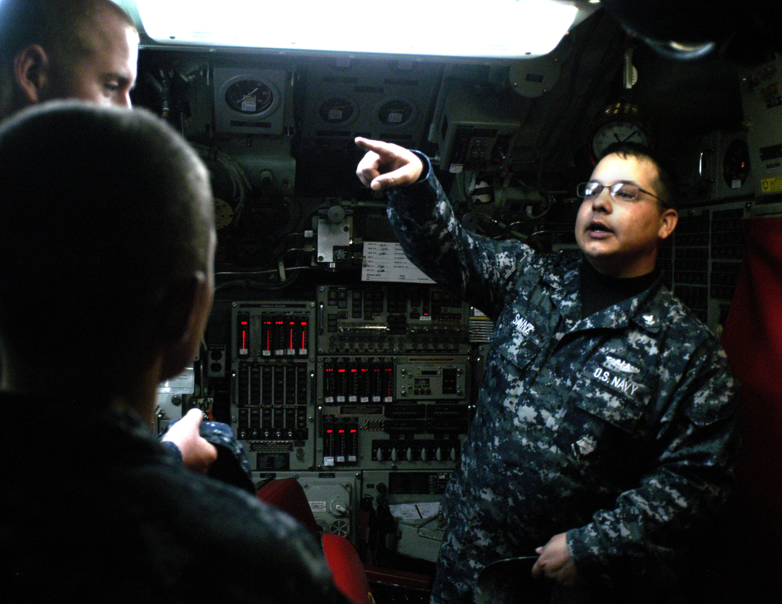 Cadets aboard the submarine, USS Jefferson City