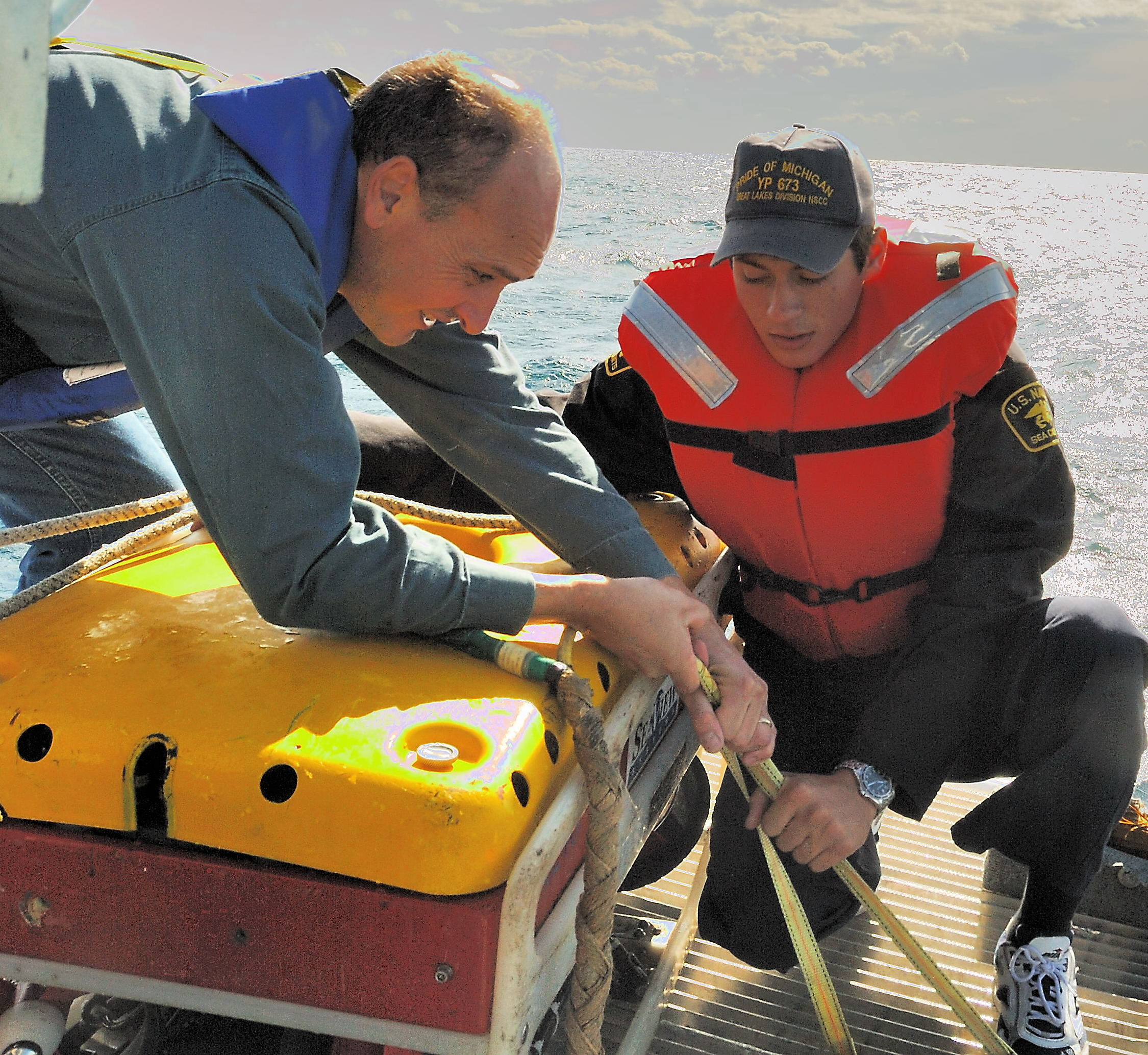 CADET SOGGE AND TECHNICIAN MATTHEW COOK SECURE ROV UNIT.jpg