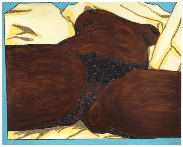 Mickalene Thomas. Origin of the Universe 1 , 2012; rhinestones, acrylic, and oil on wood panel; 48 x 60 in. Courtesy of the Artist.