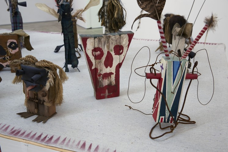 Brad Kahlhamer, Bowery Nation , 1985–2012; construction made with wood, wire, rubber, feathers, oil paint, acrylic paint, spray paint, cloth, string, rope, hair, leather, metal, pencil, bone, clay, and sage; approximately 10 x 24 x 4 feet installed;collection Thyssen-Bornemisza Art Contemporary, Vienna. Courtesy of the Artist and Jack Shainman Gallery, New York.