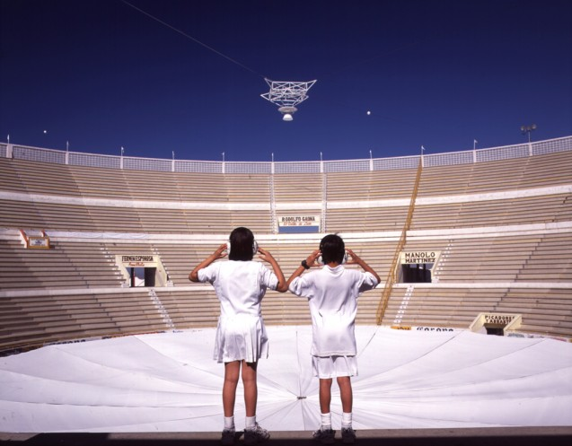 Search (En Búsqueda) , 2001; radio telescope installation at the Plaza Monumental Bullfight Ring, Tijuana, Mexico. Courtesy of the Artist and Christopher Grimes Gallery, Santa Monica.