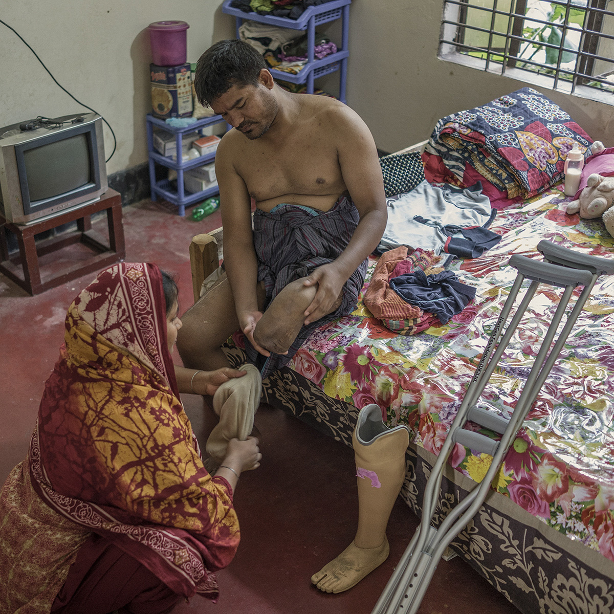 Jewel Sheikh is one of the victims of the Rana Plaza incident. He lost a leg in that accident and the other one is not working properly. Jewel Sheikh came to Dhaka from the northern part of Bangladesh.