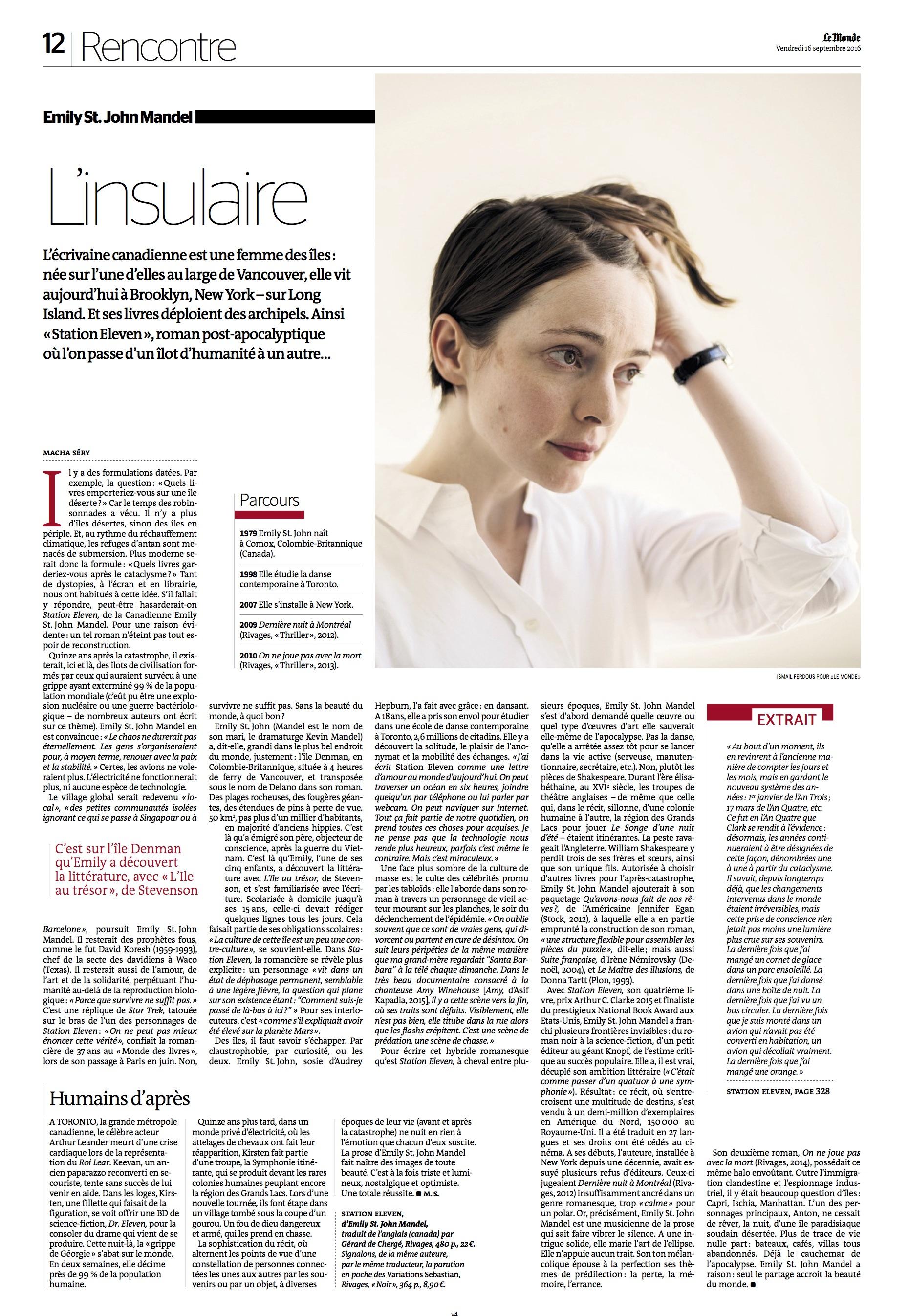 Emily St. John Mandel- Published in Le Monde