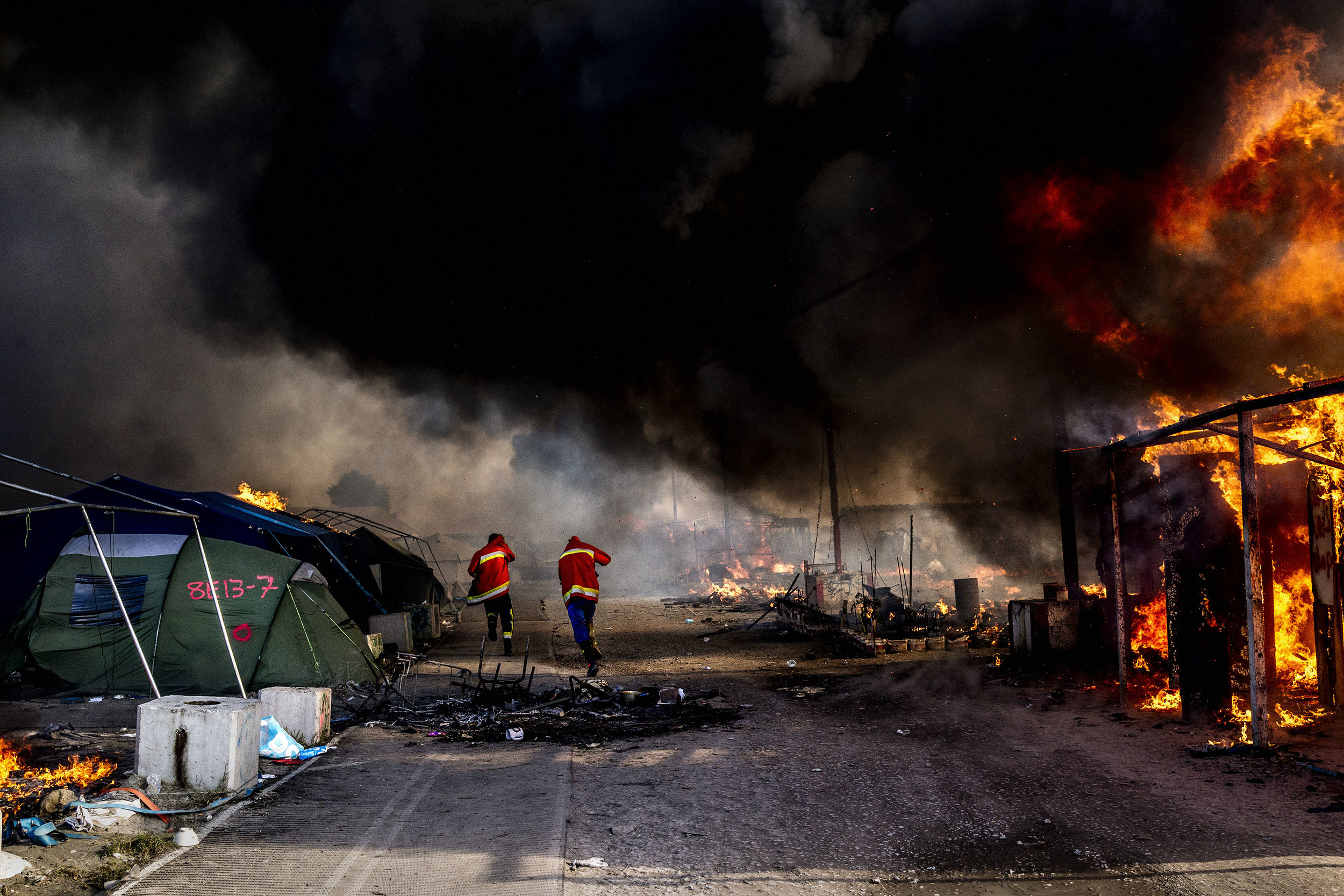 26th October 2016, The Jungle of Calais in France is in huge fire.