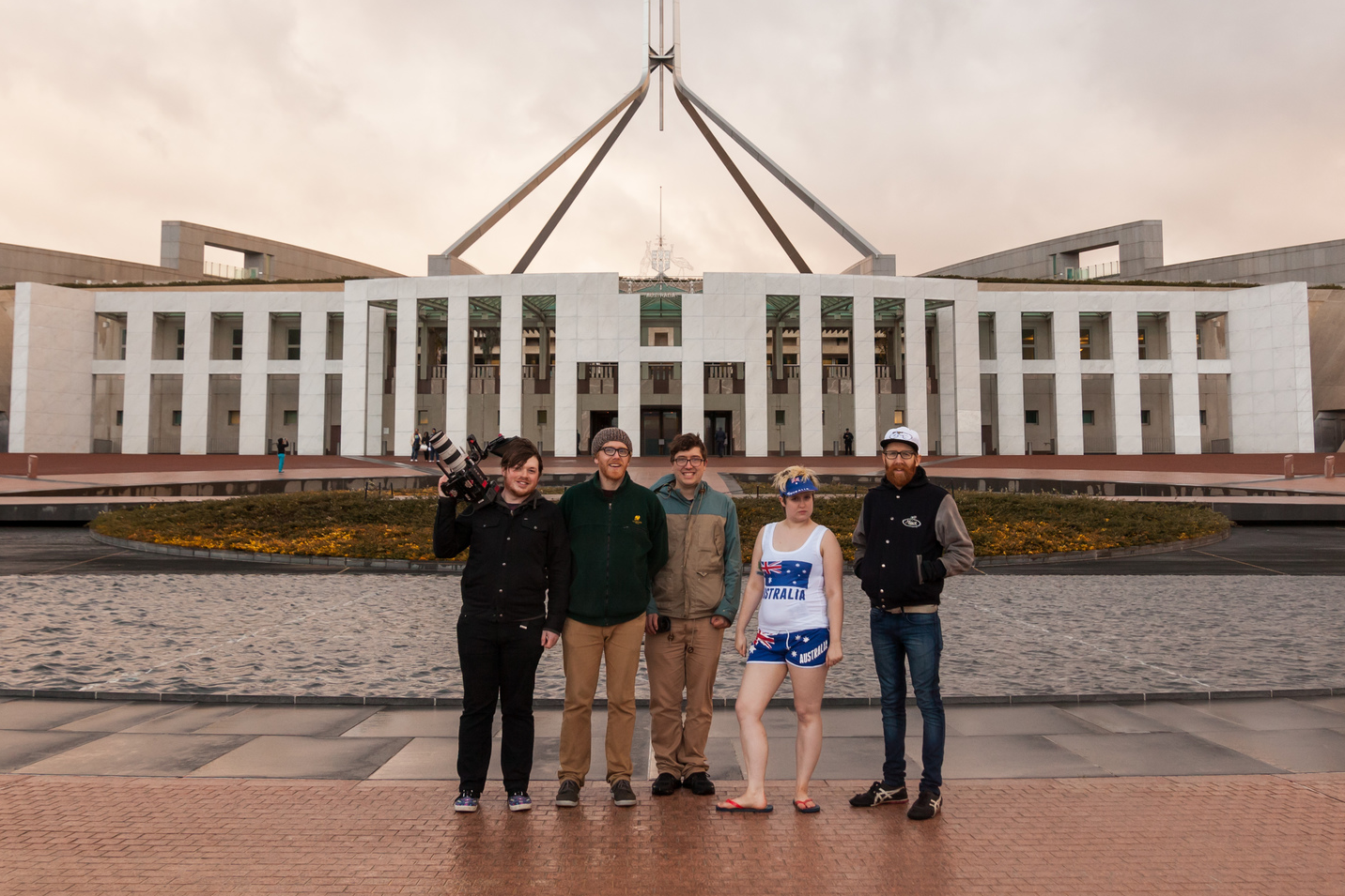 The  Get It Up Ya  team shooting on location at Parliament House