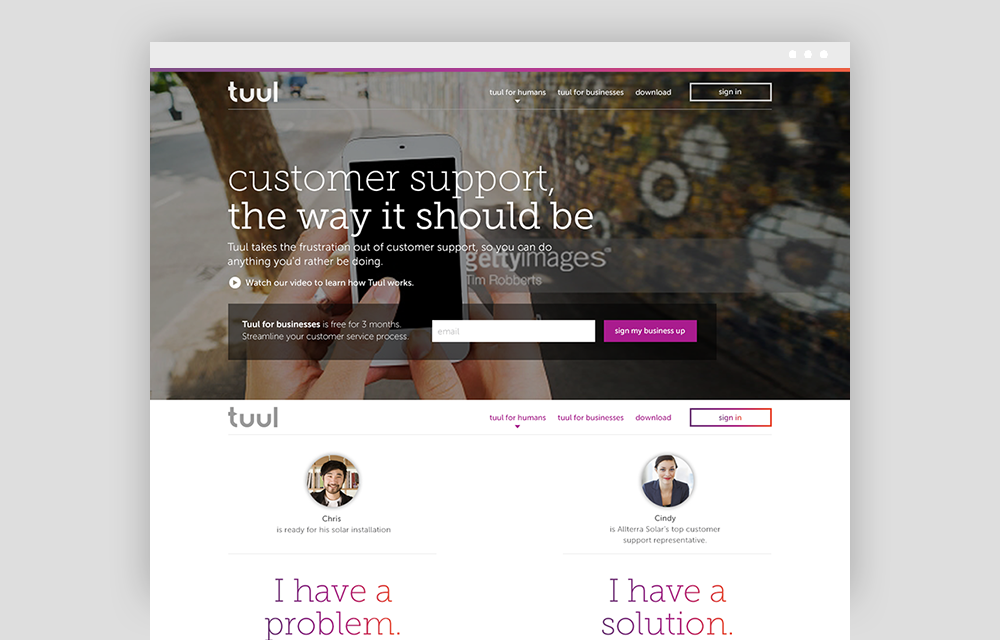 Website - The website needed to quickly tell the Tuul product story. Through video and parallax animation, the story was told through a parallel customer and CSR experience.