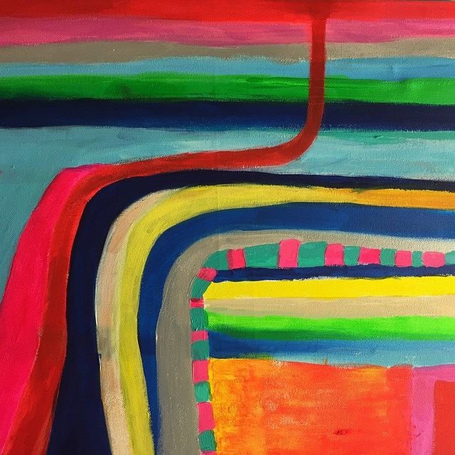 """Disrupted Flow"" Acrylic on canvas  45.5cm x 61cm (18"" x 24"")"