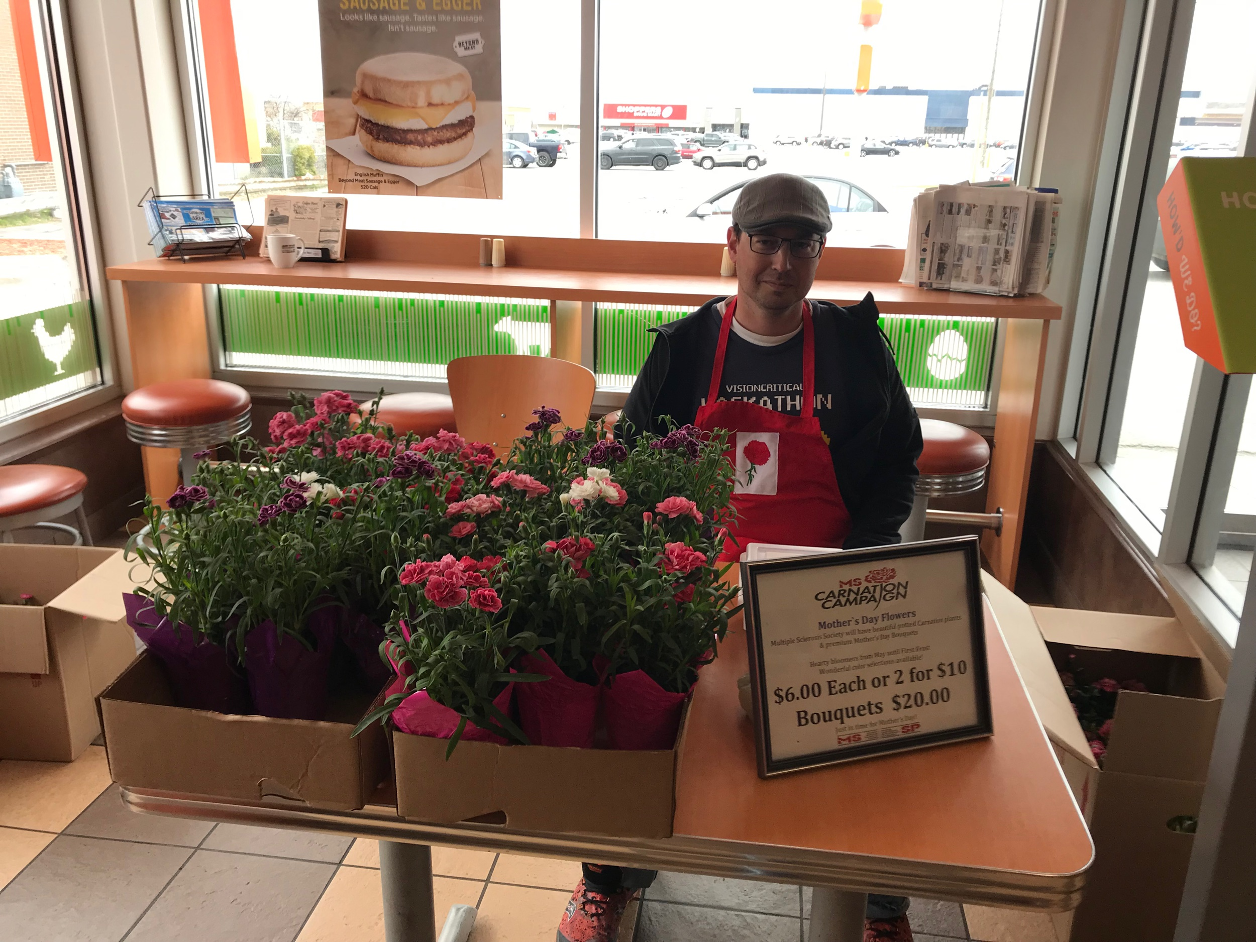Carnations for Mother's Day sales to raise funds for the MS Society.