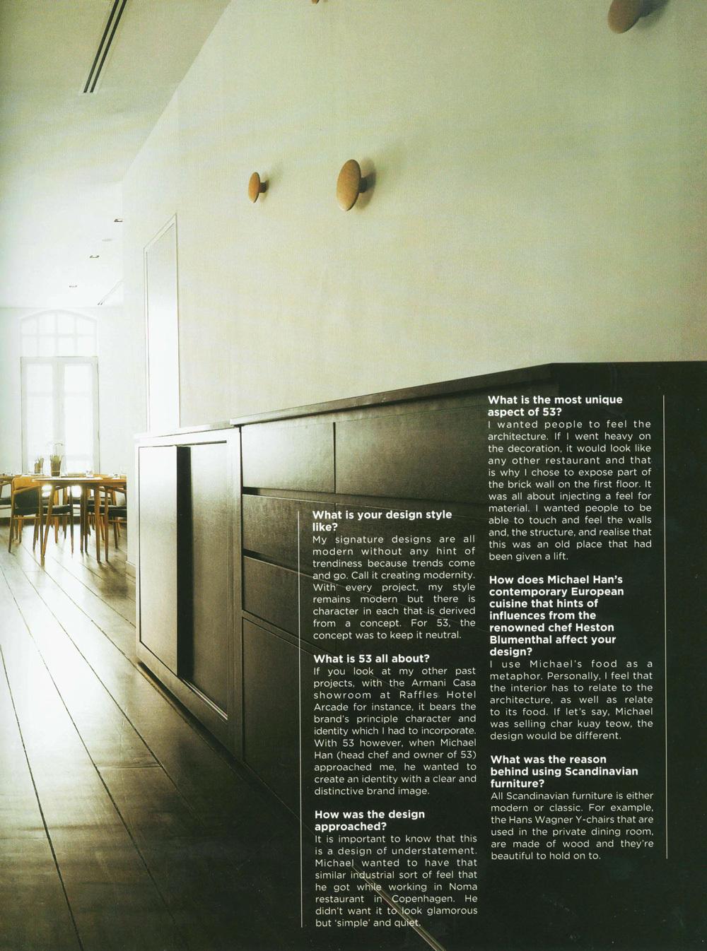 "2009 Vol 2 / FORM Magazine – ""Nordic Chic"" 53 Restaurant"