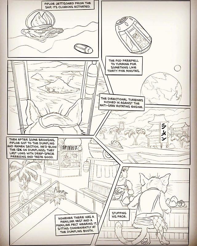 Third page of Space Pirate Neko. Bloody Piploe heads to Yummina... #scp #spn #space #pirate #neko #comics #inked #illustration #spacepirateneko #drawing #ink