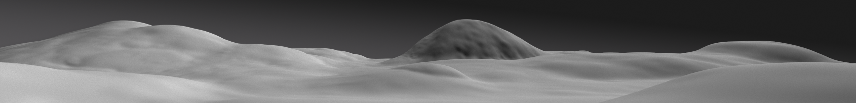 It worked perfectly. Subdividing removed the pixelized artifacts and all we're left with for the entire 16896x2048 render is a buttery smooth landscape with lucious soft noise all over. So far so good.